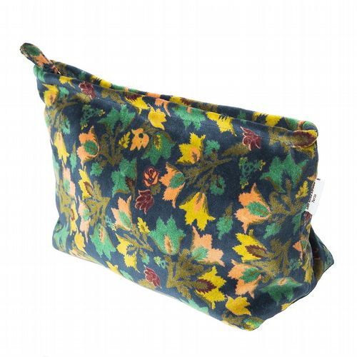 Printed Cotton Velvet Washbag - Suzani Atlantic